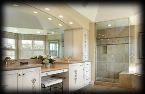 Custom glass shower doors in Naperville home