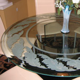 SSample - Custom Glass Table with Custom Glass Etching